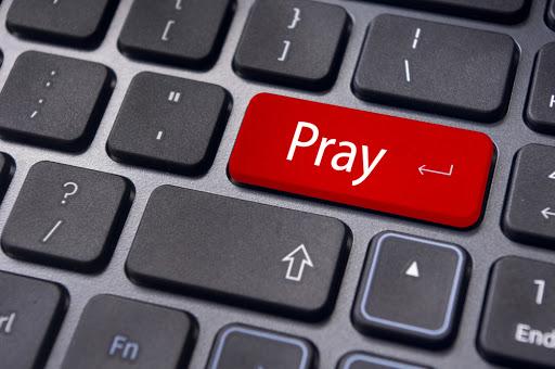 pray on keyboard. - it