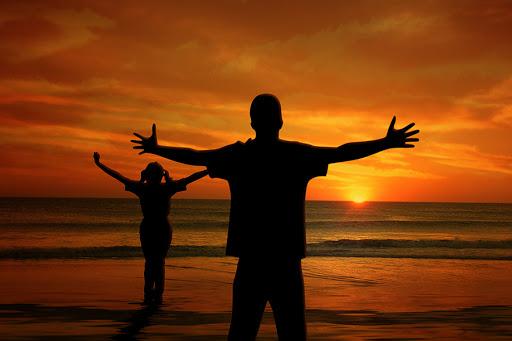 Man Child Girl Sunset Sea Beach Joy Ocean Wave - Happiness - it