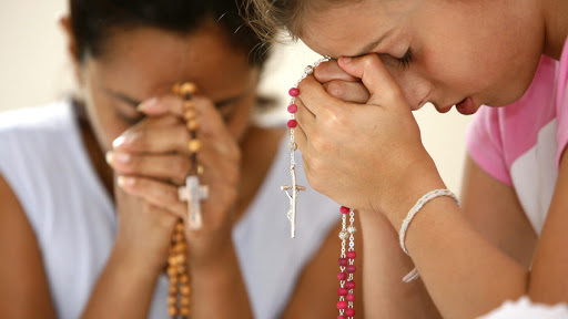 Families are encouraged to pray the rosary together - it