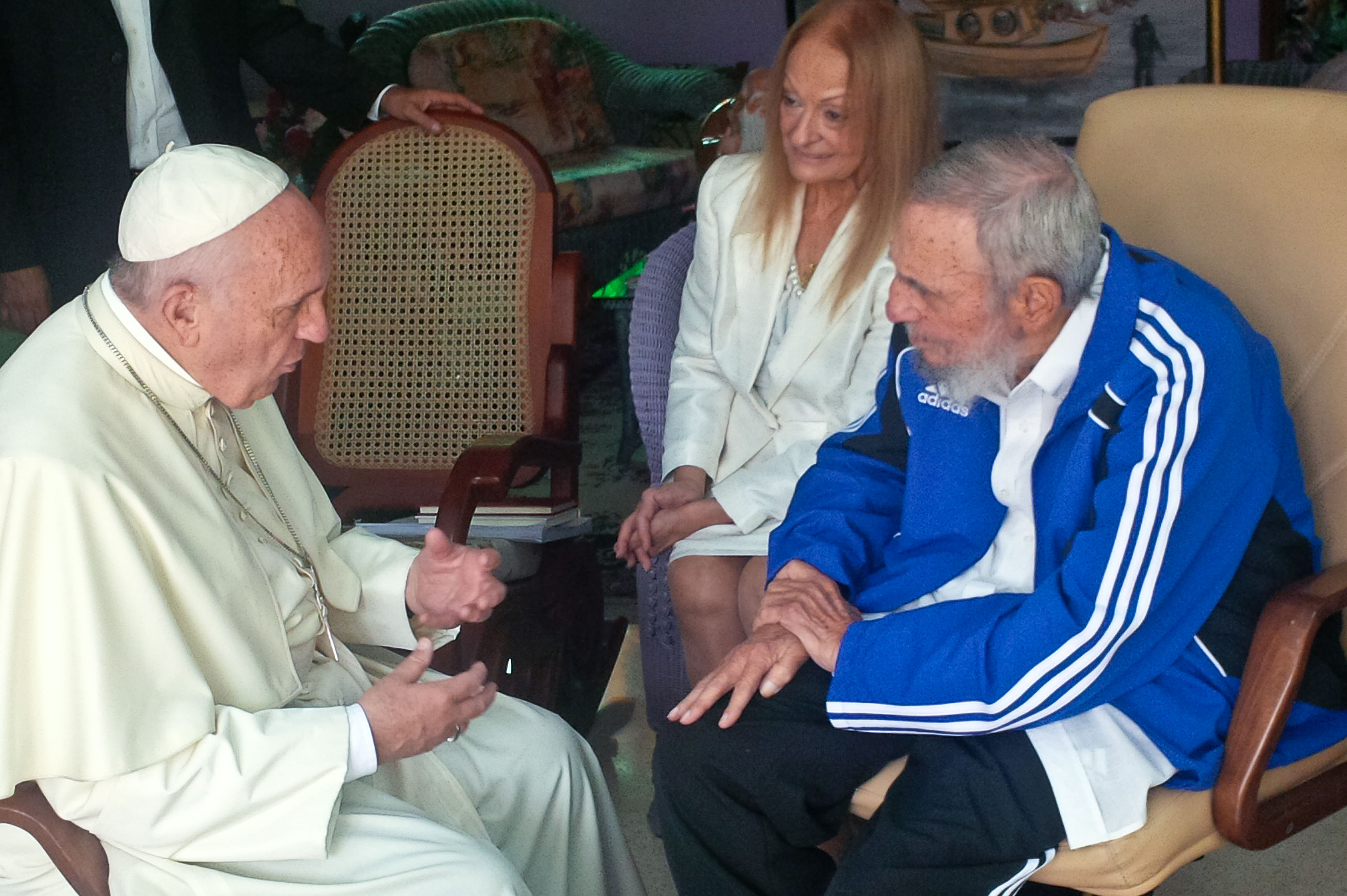 September 20 2015 : Pope Francis meets Fidel Castro at his home in Havana, Cuba.