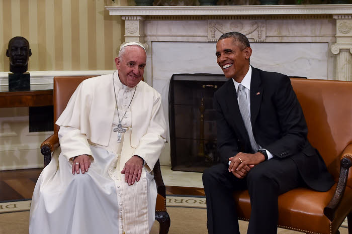 September 23 2015 : President Barack Obama meets with Pope Francis in the Oval Office of the White House in Washington.