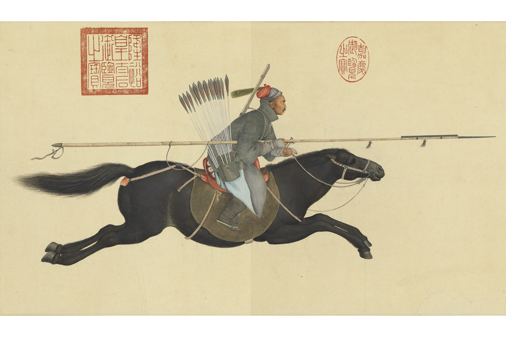 Ayusi Scattering Rebels with Upraised Spear, by Giuseppe Castiglione (Chinese name Lang Shining, 1688—1766), Handscroll, ink and color on paper, National Palace Museum, Taipei.