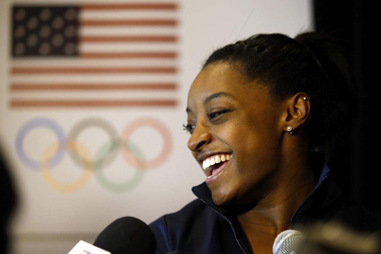Beverly Hills, California: La ginnasta Simone Biles si rivolge ai media all'USOC Olympic Media Summit presso il The Beverly Hilton Hotel il 7 marzo a Beverly Hills, California (Stati Uniti). Todd Warshaw/Getty Images per USOC/AFP