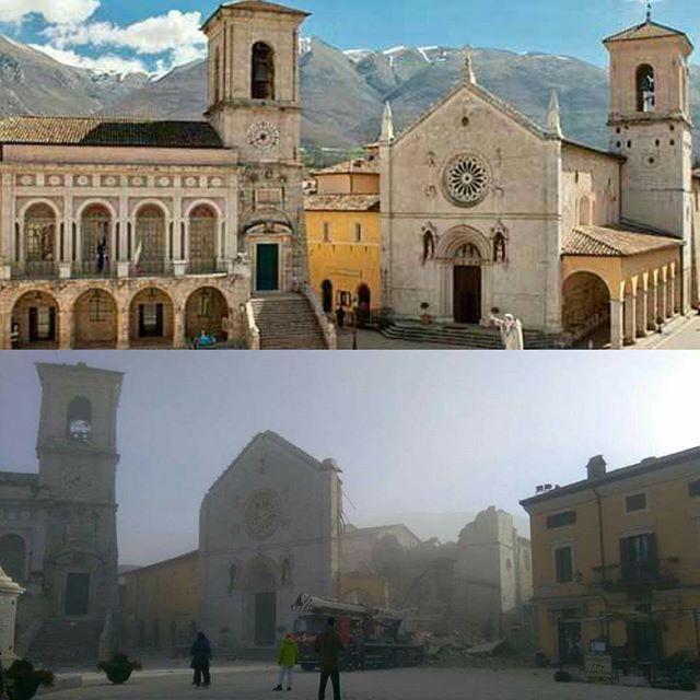 La cattedrale di Norcia, prima e dopo il terremoto