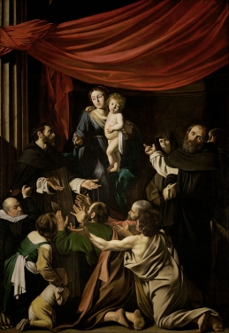 La Madonna del Rosario di Caravaggio. S. Domenico (a sinistra) distribuisce rosari al popolo