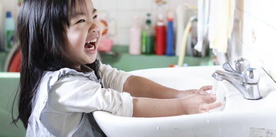 Girl Cleaning Hands