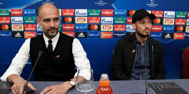 Pep Guardiola and David Silva