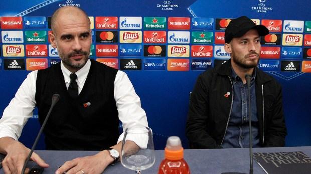 Pep Guardiola and David Silva