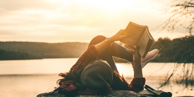 GIRL, READING, SUNSET