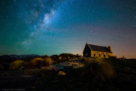 SOUTHERN LIGHTS,NEW ZEALAND,CHURCH