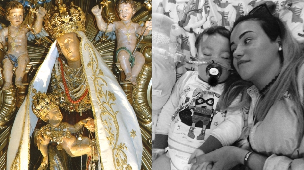 KATE JAMES ALFIE EVANS OUR LADY MARY WITH BABY JESUS CHRIST