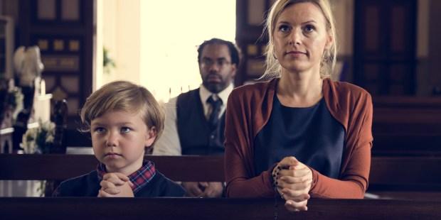 MOM,SON,PRAYING