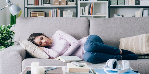 WOMAN,ASLEEP,COUCH