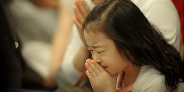 LITTLE, GIRL, PRAYING