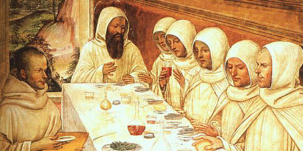 MONKS EATING,TABLE