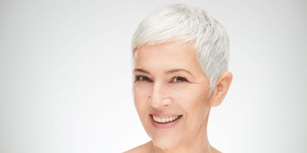 OLDER WOMAN WITH SHORT HAIR