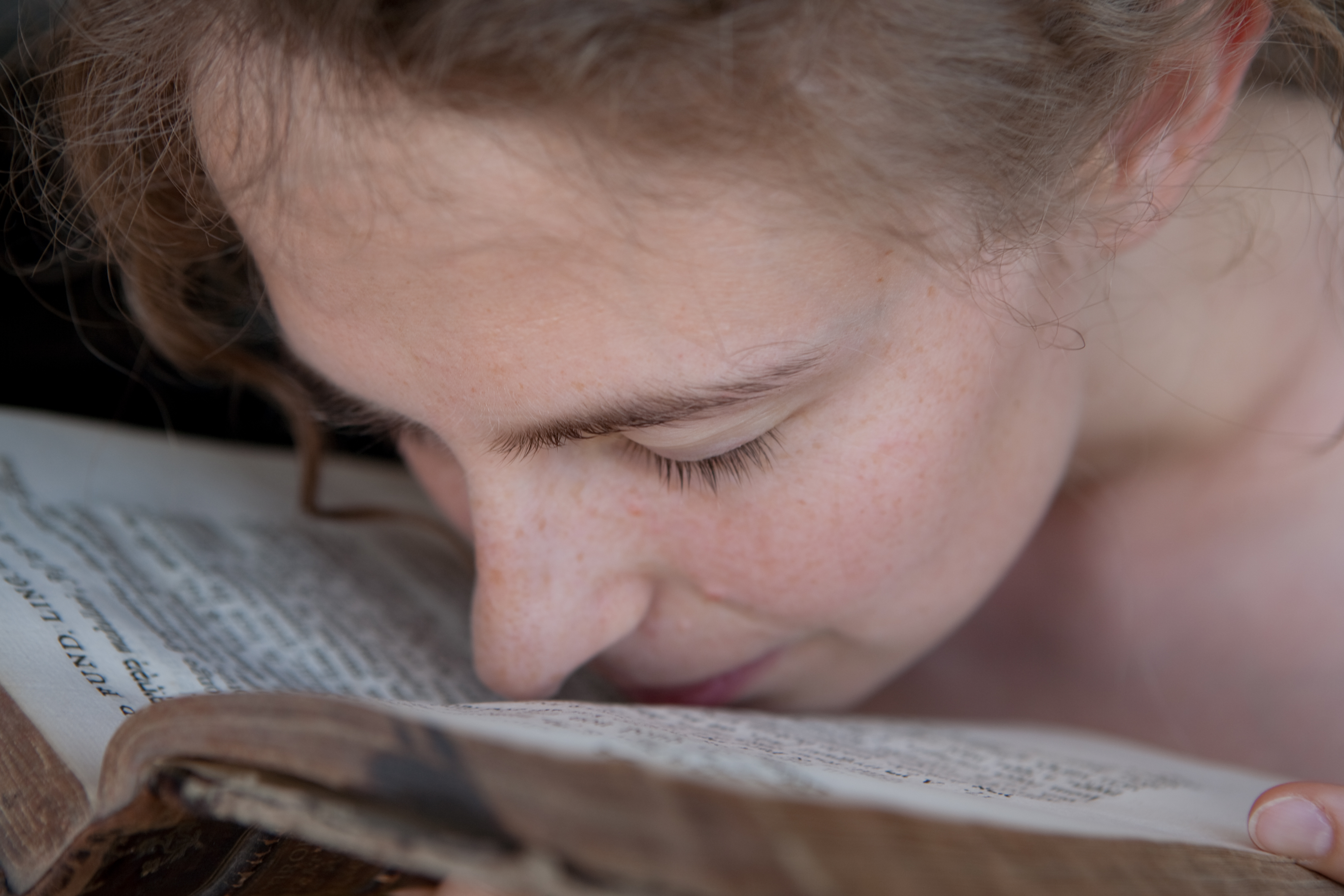 woman, smell, book