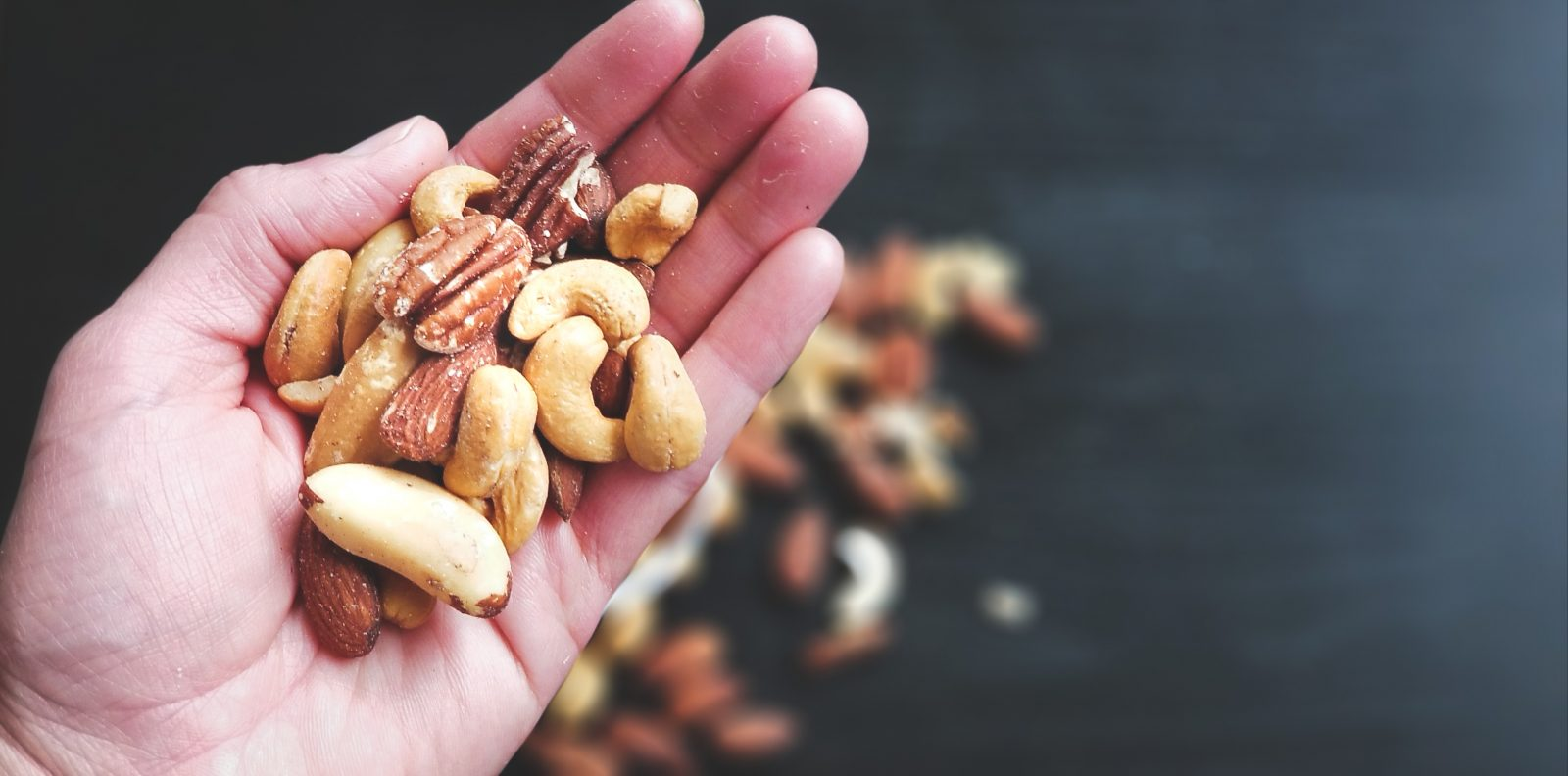 nuts, hand,