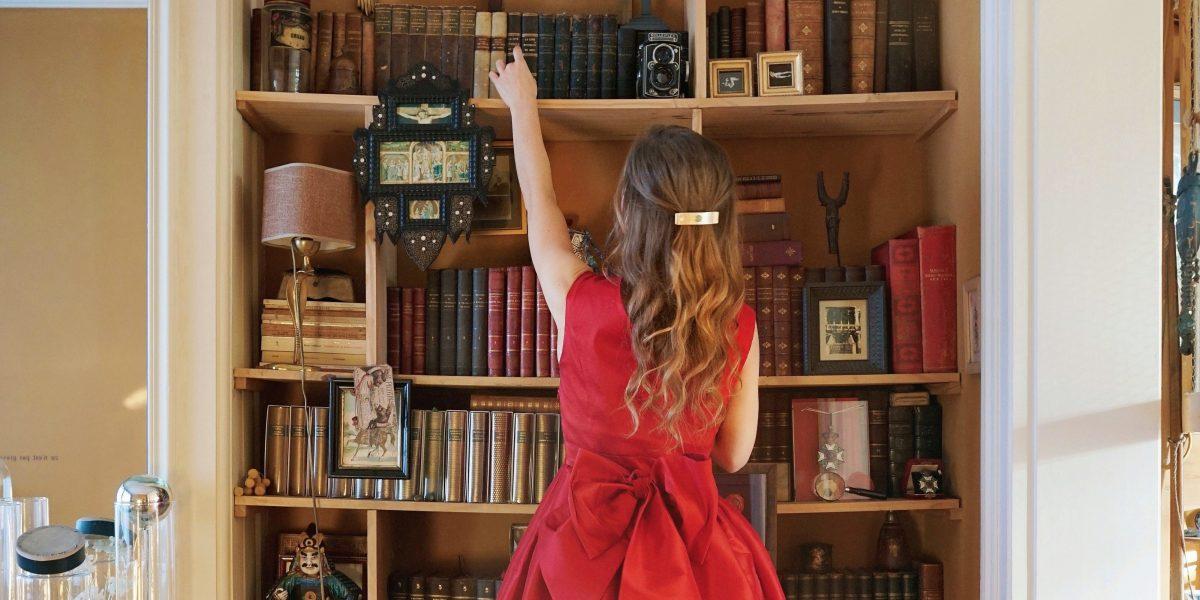 GIRL, BOOK, SHELF