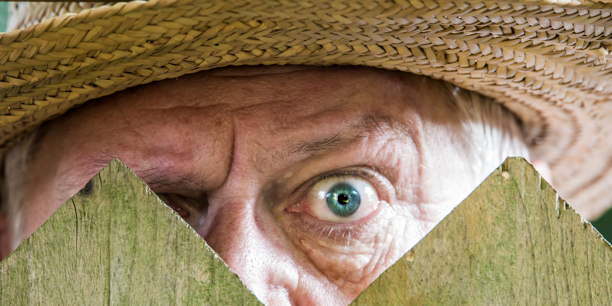 MAN, EYE, FENCE