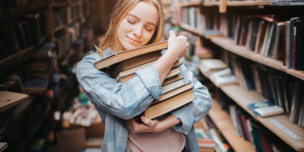 GIRL, BOOK, LIBRARY