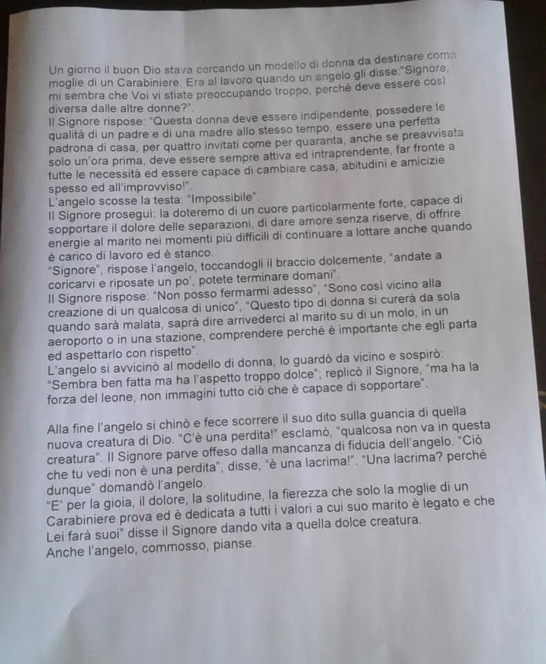 PREGHIERA MOGLIE CARABINIERE