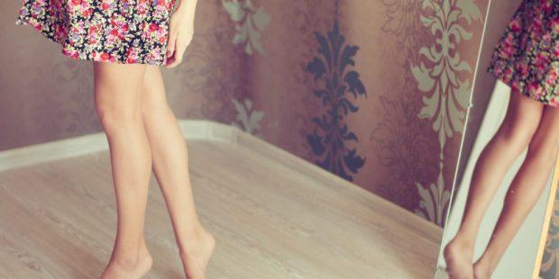 WOMAN, LEGS, MIRROR