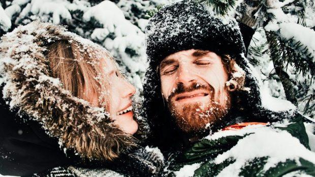 COUPLE, WINTER, SMILE