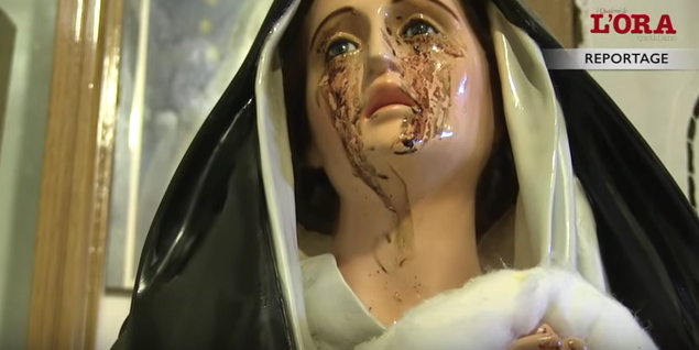 lacrimazioni statua madonna