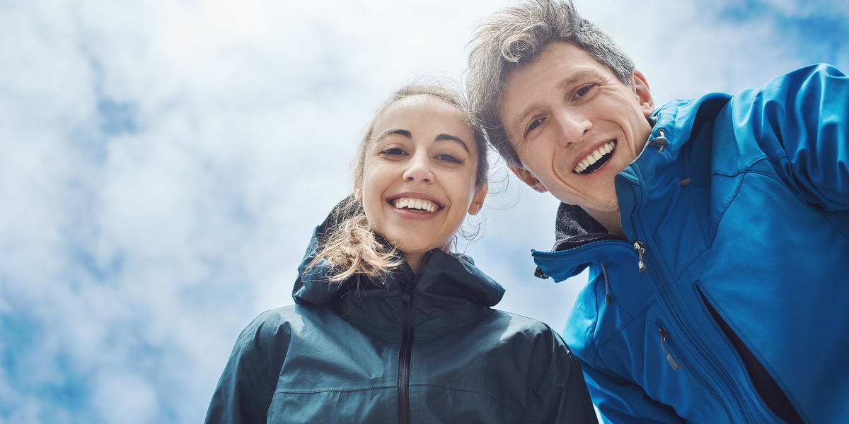 COUPLE, SMILING, SKY