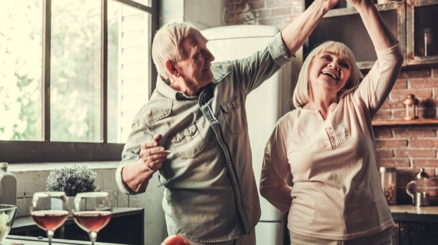 OLD, COUPLE, DANCING