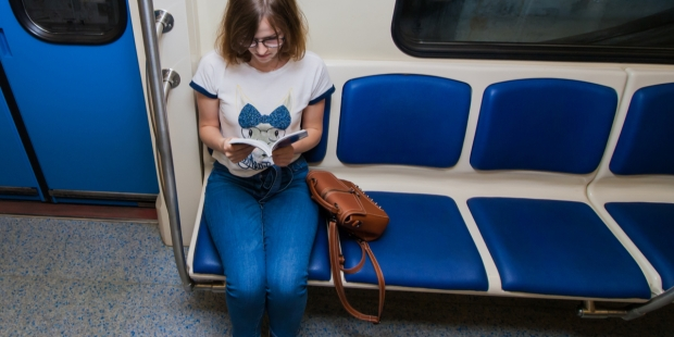 WOMAN, SUBWAY, BOOK,
