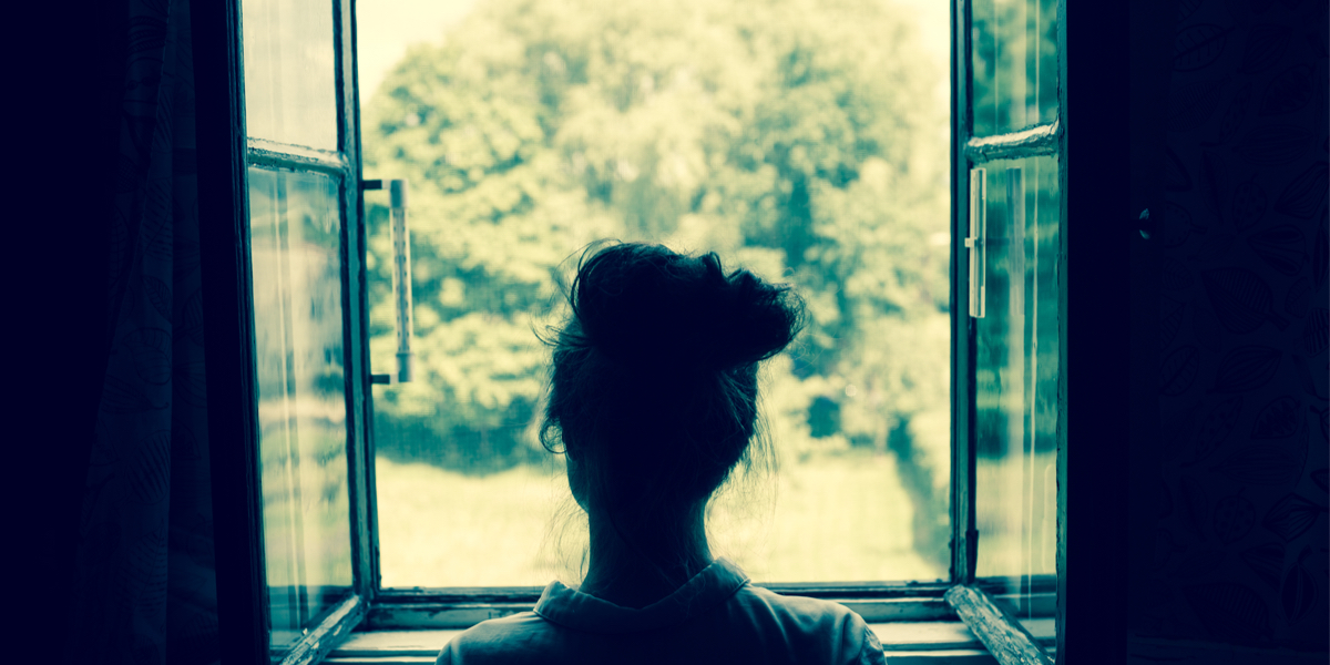 YOUNG WOMAN, WINDOW,