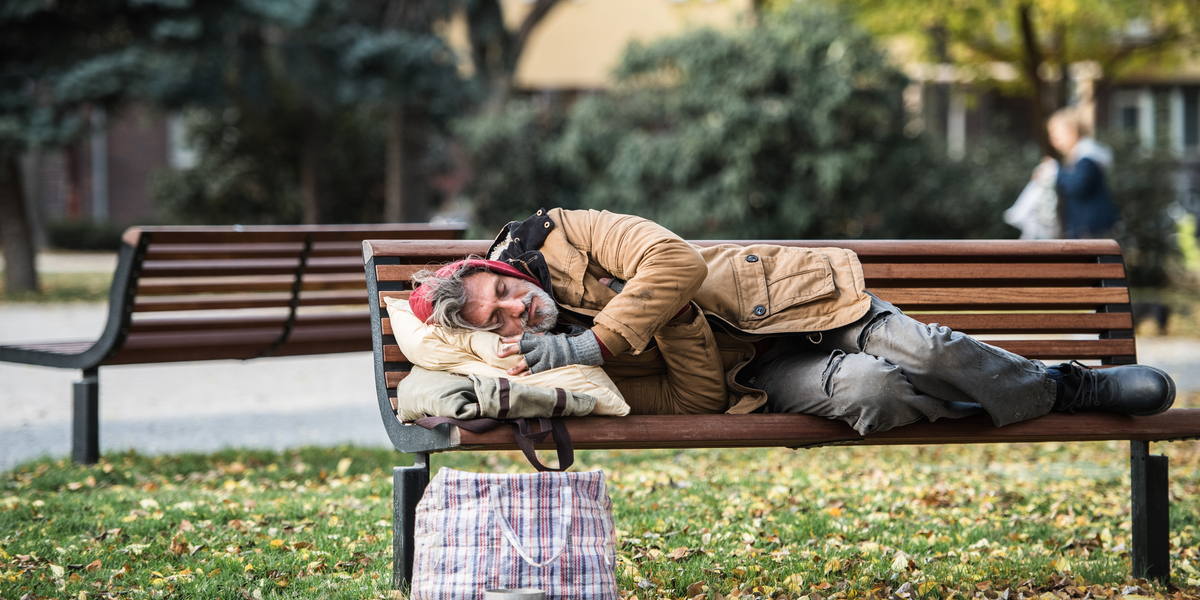 HOMELESS, SLEEPING, BENCH