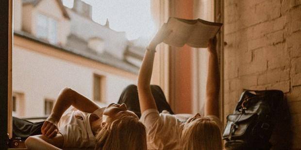 GIRLS, READING, WINDOW