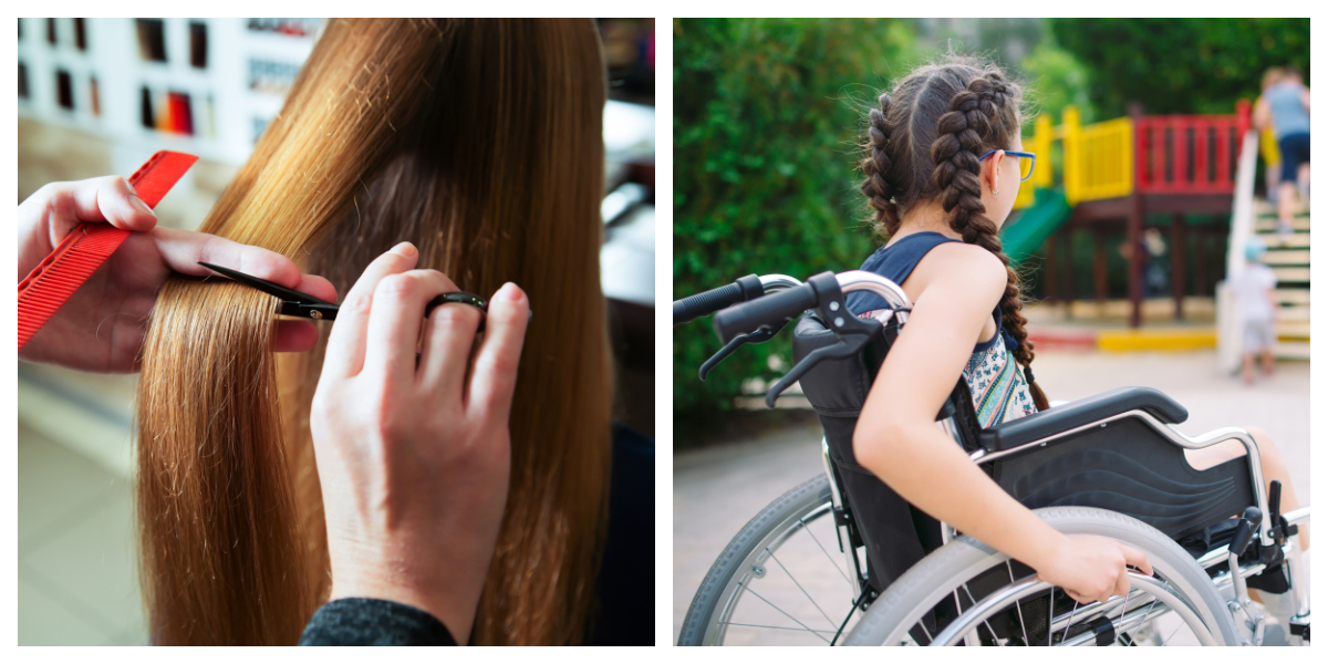 CUT HAIR, WHEELCHAIR, COLLAGE