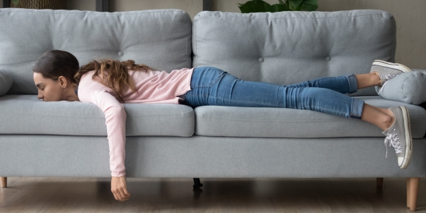 WOMAN, SOFA, SLEEP
