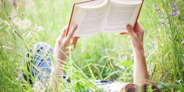WOMAN, READING, LAWN