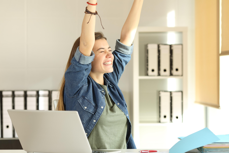 Happy, Woman, Work
