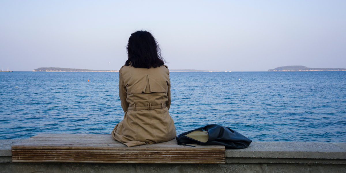 WOMAN, ALONE, SEA