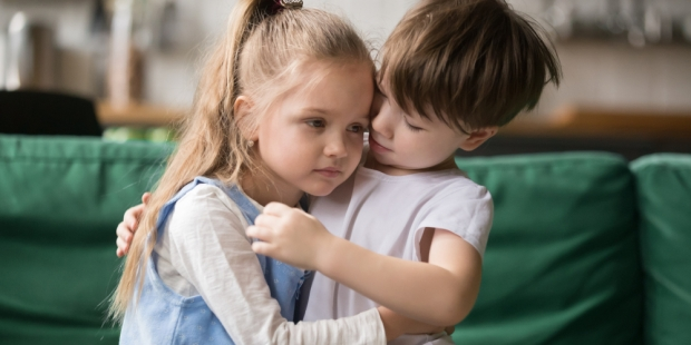 brother, sister, boy, girl, sad, comforts