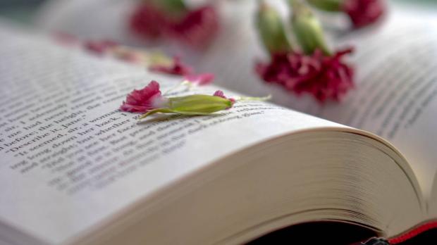OPEN BOOK, FLOWERS