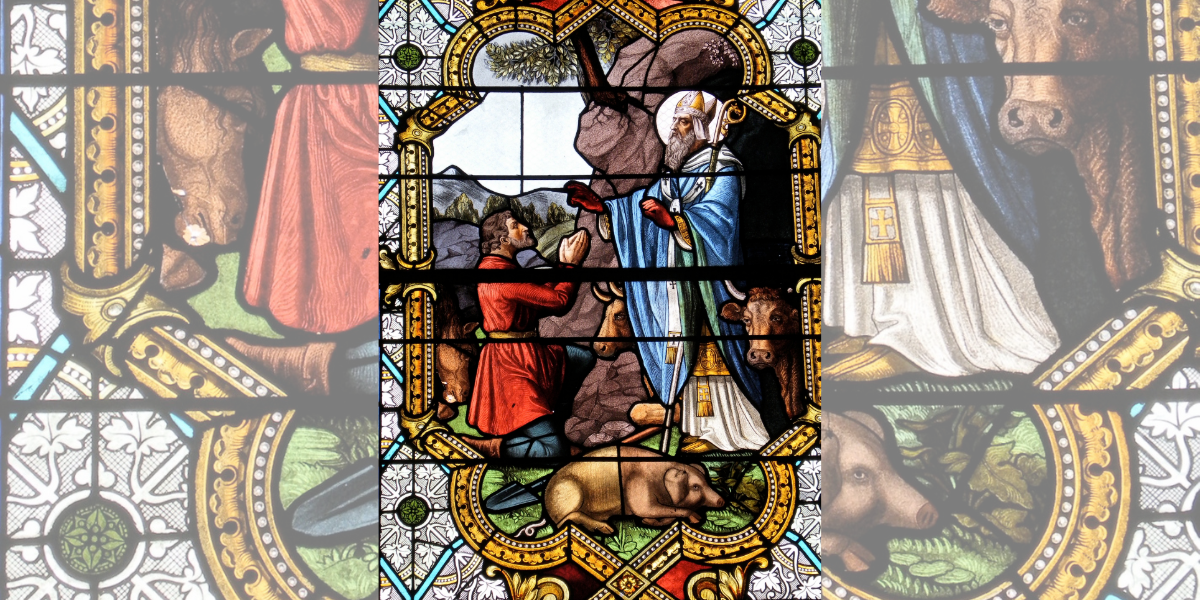 SAINT ANTONY, PIG, STAINED GLASS