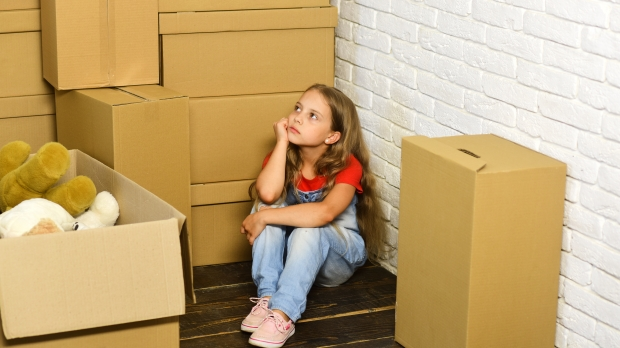 cardboard boxes, girl, move, new home