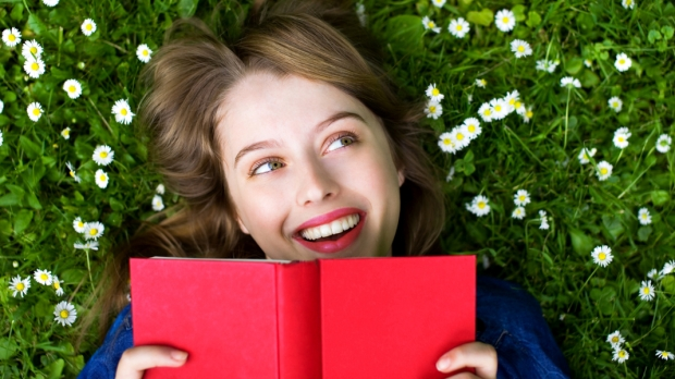 GIRL, BOOK, LAWN