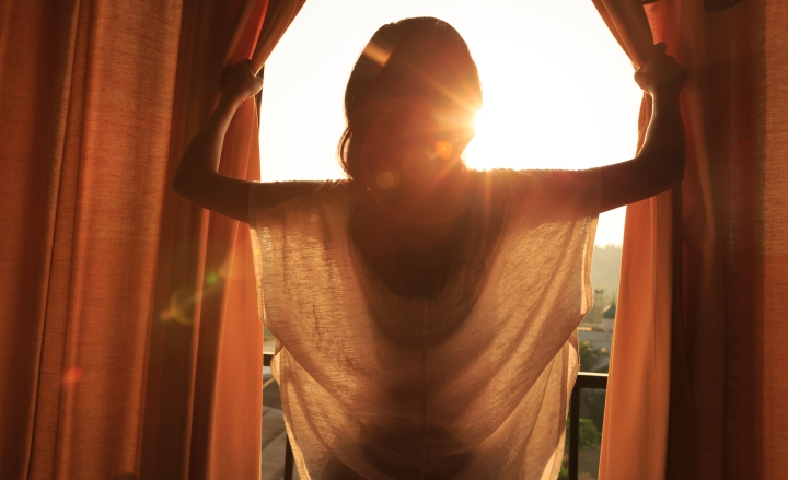 WOMAN, WINDOW, SUN
