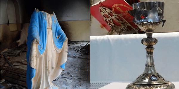 Imagens e objetos sacros profanados pelo Estado Islâmico