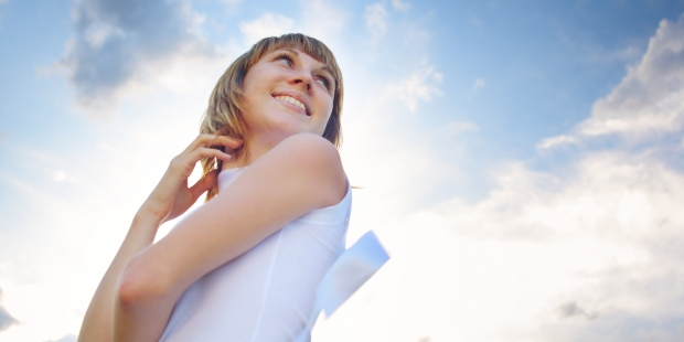 GIRL, SKY, SMILE